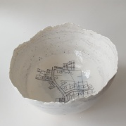 One of Bridget's unique bowls sits on a low table in our home; swirls of clay scooped from the foundation of our much-loved kitchen extension are mixed into the transluscent walls of porcelain. When you peer inside there's a map of where our house sits in the village at the bottom. Everyone who comes here is fascinated by it. My sister was the latest person to see it and she loved it. She lives in a red-brick farmhouse at the foot of the Malvern Hills, and she wouldnt live anywhere else. Time and again, she has looked after our two dogs, and she never wants anything in return… Well, now we know just what we can give her to say thank you. It's lovely to commission Bridget to do this for us… she has entered into our secret conspiracy and her enthusiasm to create something special for someone special of somewhere special is magic.