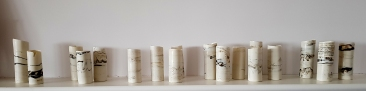 Cylinders using found material from Holme next the Sea, Norfolk. Size: 5cm x 12cm (approx). Price: £65 each