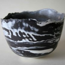 Black porcelain vessel, 12 cm diameter. £125
