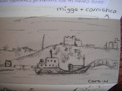 Drawing left in Art book at Carricknath