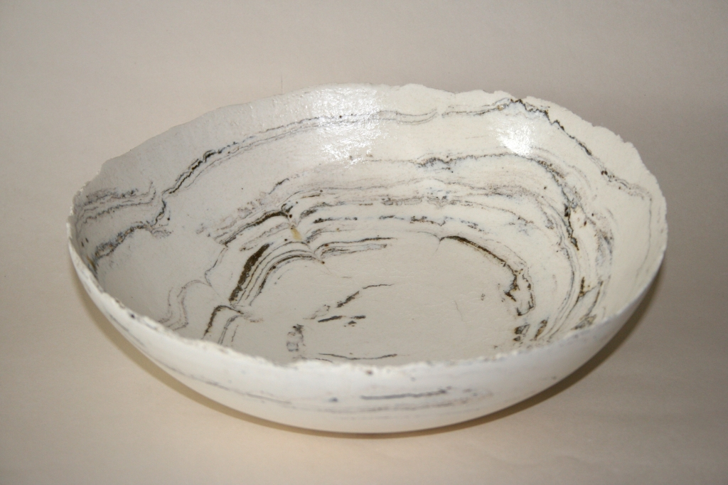 Birthday present commission bowl. polished porcelain with inclusions from an ancient farm in Herefordshire